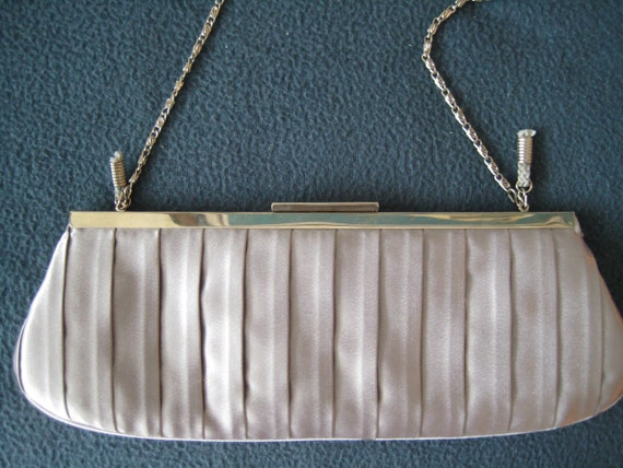Lovely Gray Satin Pleated Evening Bag