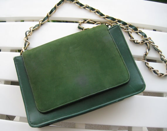 VTG Green Suede Shoulder Bag by Stylecraft Miami