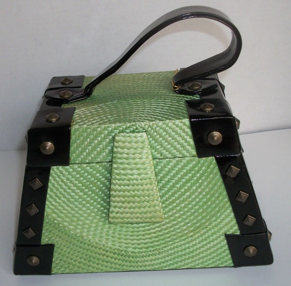 Green Trapezoid Bag by Katherine Kristi
