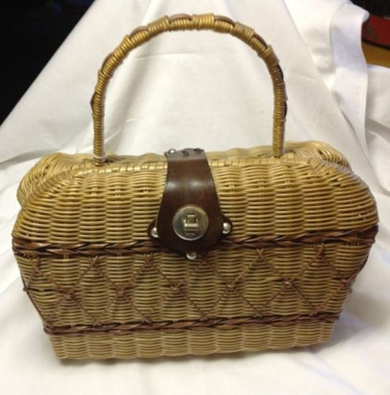 Vintage Rattan Bag with Chris Cross Design