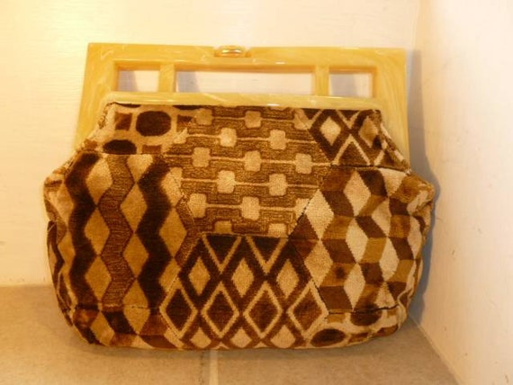 VTG Carpet-Type Bag with Lucite Handle.