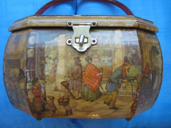 Wooden Decoupage Box with Victorian Street Scene