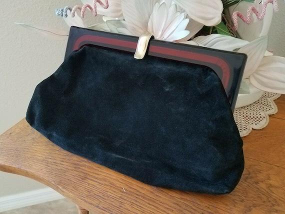 VTG Italian Black Suede Handbag