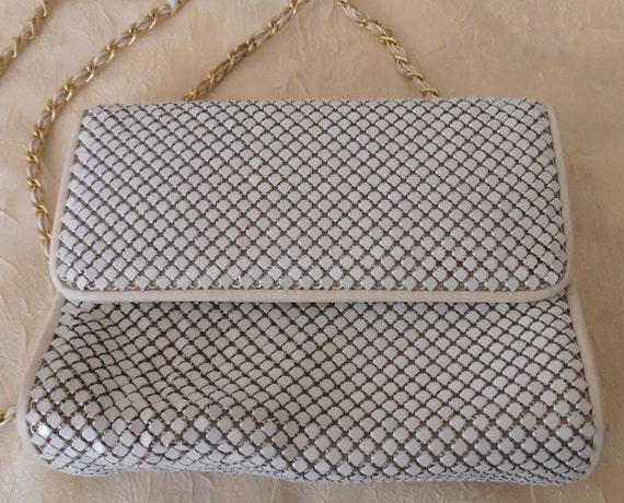 White Metal Mesh Shoulder Bag by Whiting and Davis