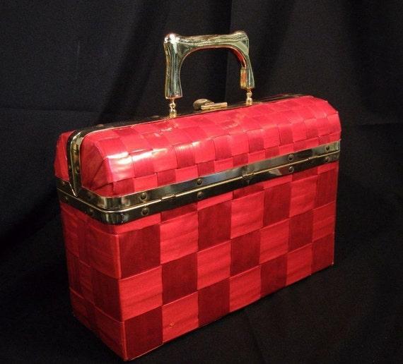 Italian Red Vinyl Weave Box Bag