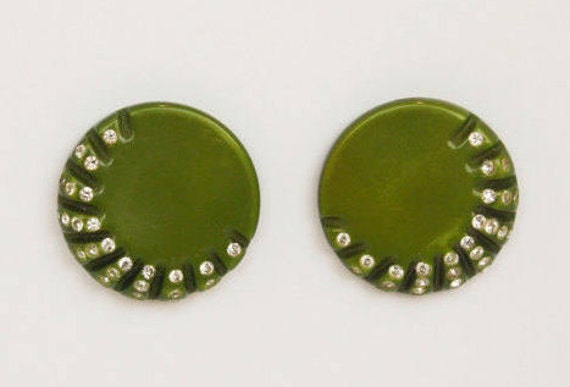Green VTG Button Earrings with Rhinestones