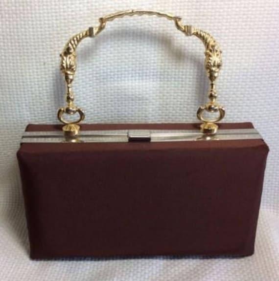 Stunning!  Satin and Brass Box Bag by Stylecraft Miami