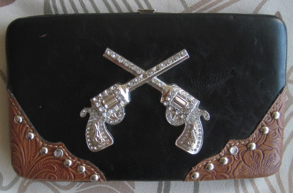 Ladies Crossed Guns Wallet Clutch