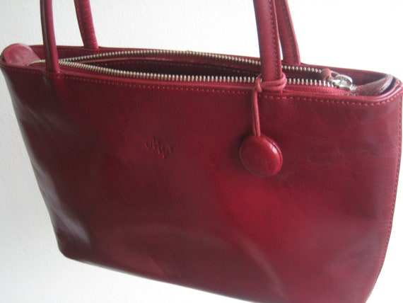 Perfect Red Leather Handbag by Monsac