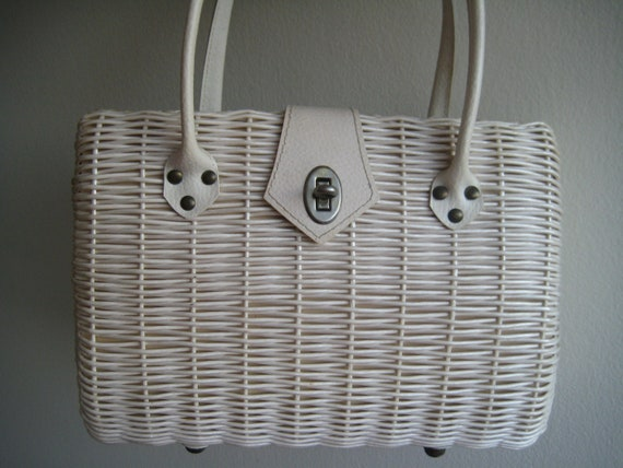 Classic White Wicker Bag from Japan