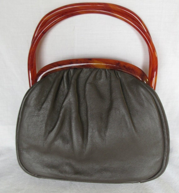 VTG Black Leather & Lucite Bag by Etra