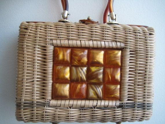 Vtg Wicker Handbag by Stylecraft Miami