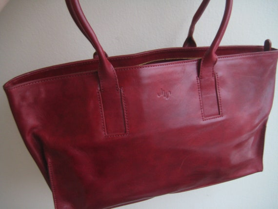 Red Leather Tote Purse by Monsac
