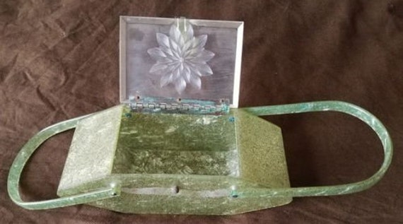 Green Confetti Lucite Box Bag!