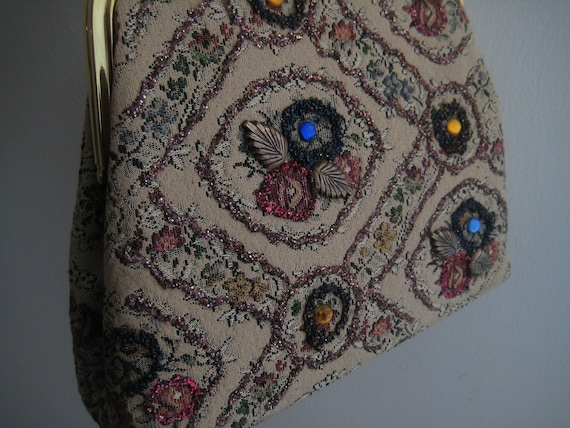 Vintage Tapestry Look Bag with Sequins and Beads