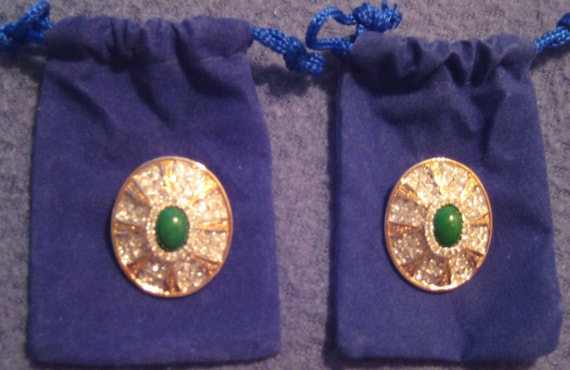 Stunning VTG Crystal Earrings with Jade Center