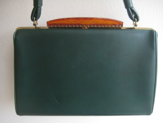 Forest Green Vinyl Leather Kelly Style Bag