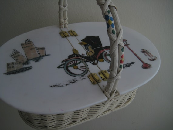Picnic Basket Handbag with Hand Painted Scene
