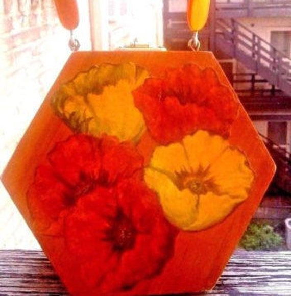 Artsy Decoupage Flower Hexagonal Box Purse
