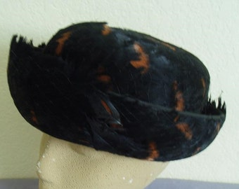 Loveliest Black and Brown Feather Hat