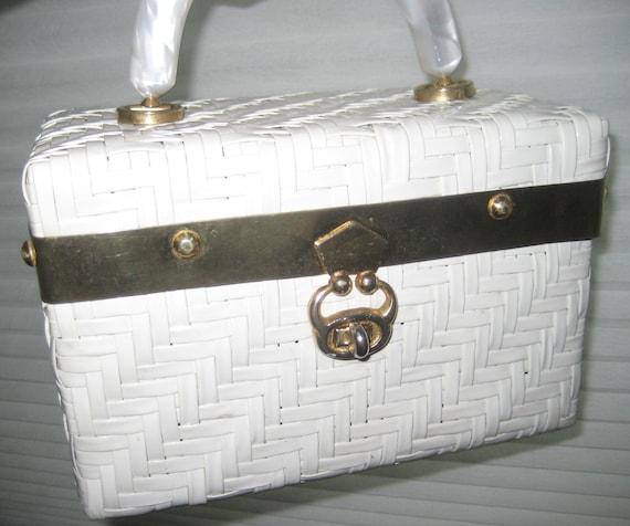 Gorgeous White Wicker Box Bag