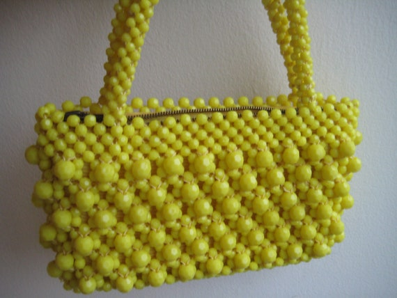 60's Yellow Lucite Bead Bag