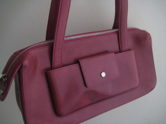 Magenta Leather Satchel by Monsac