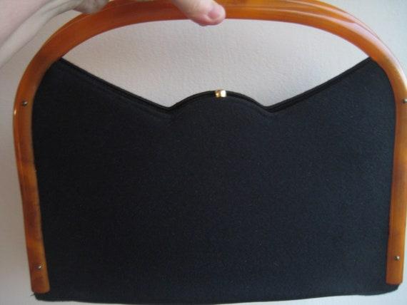 Bobbie Jerome Black Wool Bag with Bakelite Handle