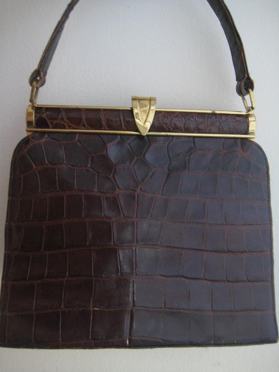 Croc Look Kelly Bag by Woolf Brothers