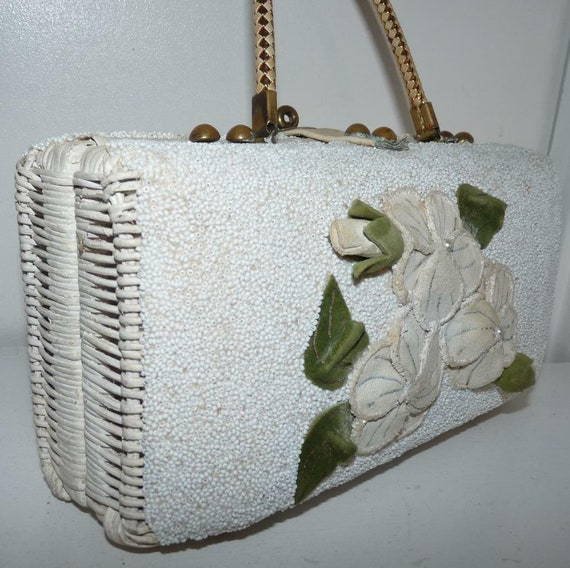 White Wicker & Applique Bag by Midas