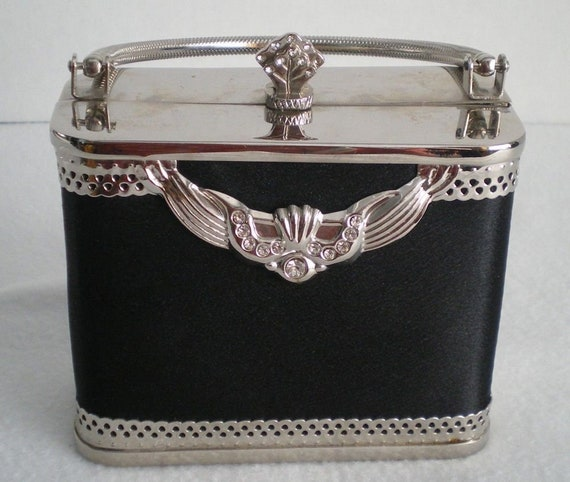 Elegant Black and Silver Evening Bag