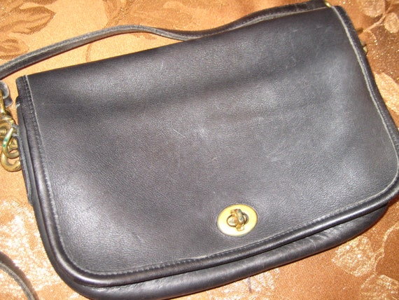 Classic Fold Over Coach Shoulder Bag in Black