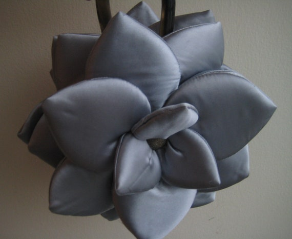 Gray Silky Flower Bag
