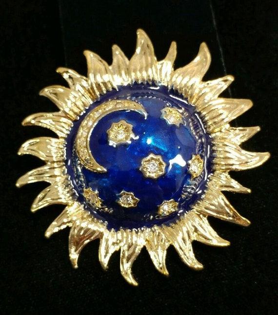 Celestial Sun Moon Stars Blue Enamel Brooch/Pendant