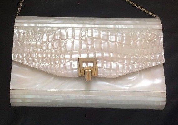 White Lucite Shoulder Bag by Elka