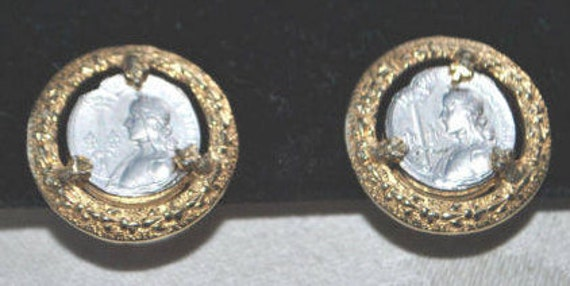 VTG Joan of Arc Coin Earrings by Nettie Rosenstein