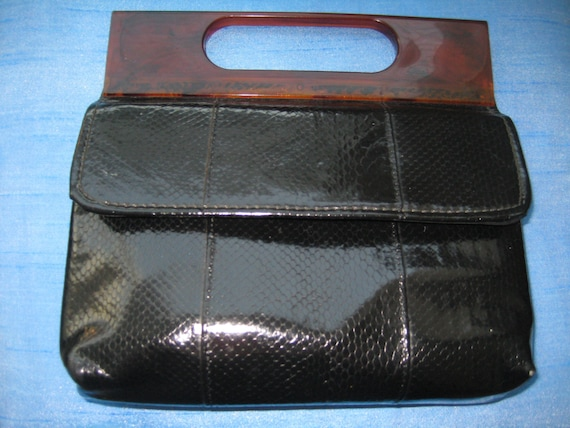 Black Patent Leather Bag with Lucite Handle