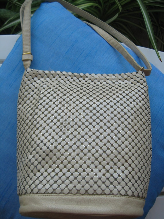 VTG White Metal Chain Bag by Whiting and Davis
