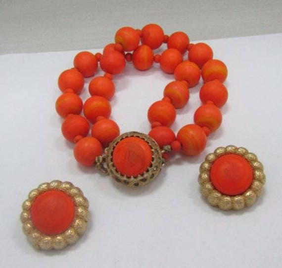 VTG Orange Bracelet & Earrings Set