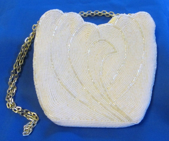 Stunning Tulip Style White Beaded Evening Bag by Walborg