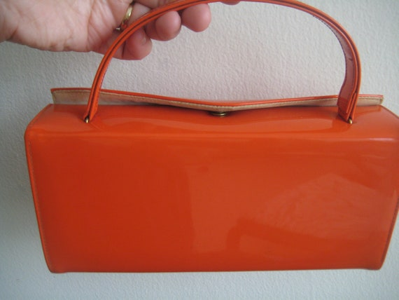 60's Classic Orange Vinyl Box Purse