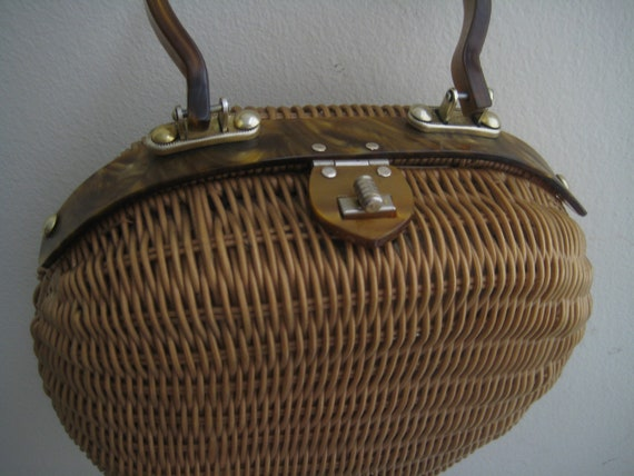 Perfect Wicker and Lucite Vintage Bag