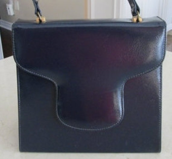 Chic VTG Blue Leather Bag from John Hurt