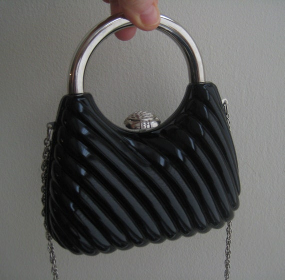 Adorable Black Lucite Date Bag!