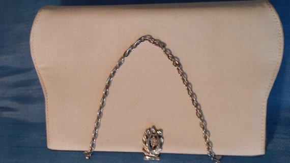 Winter White Linen Clutch with Beautiful Rhinestone Clasp