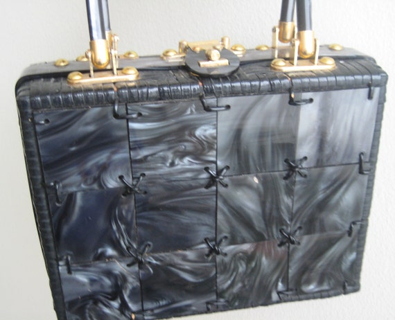 Black Panel Box Bag by Stylecraft Miami