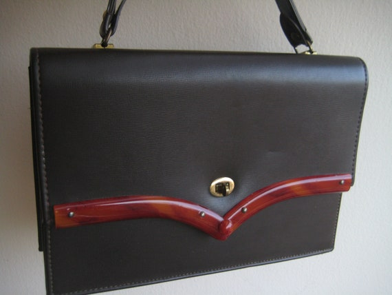 VTG Brown Handbag with  Lucite Trim