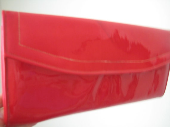 Hot Red Patent Leather Clutch by Stylecraft Miami