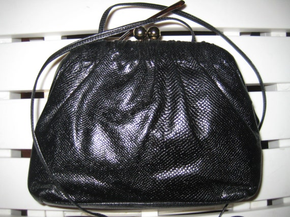 Vtg Black Leather Shoulder Bag from Etra