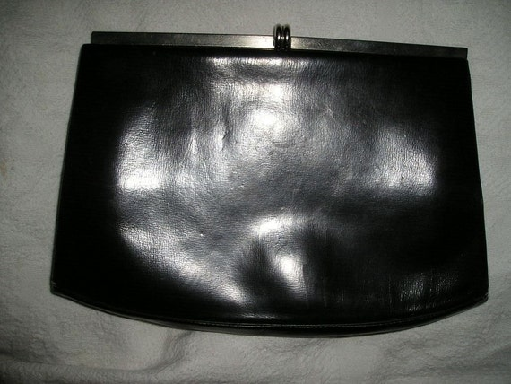 True Vintage Black Leather Clutch w Glove Holder